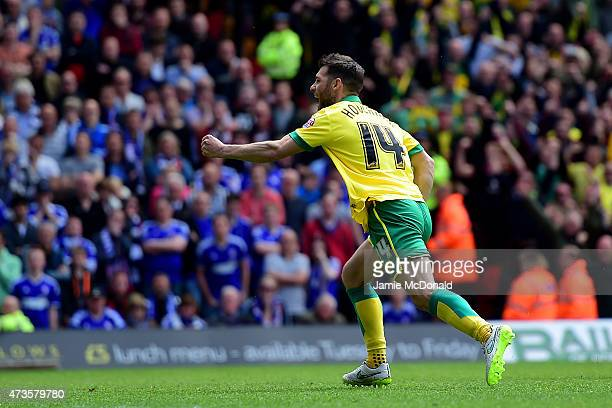 Wes Hoolahan of Norwich City celebrates as he scores their first goal from the penalty spot during the Sky Bet Championship Playoff semi final second...