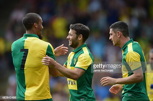 Wes Hoolahan of Norwich City celebrates his goal during the pre season friendly match between Norwich City and Brentford at Carrow Road on August 1...