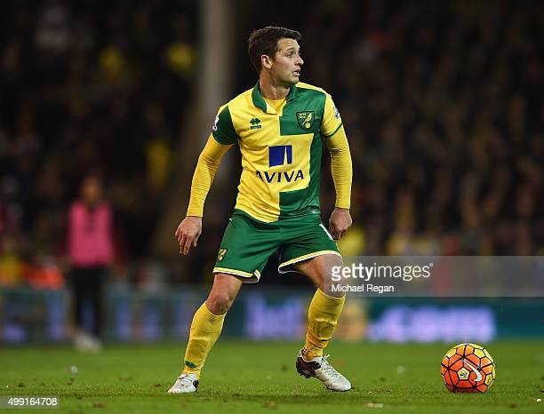 Wes Hoolahan of Norwich City in action during the Barclays Premier League match between Norwich City and Arsenal at Carrow Road on November 29 2015...