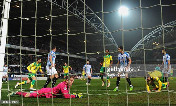 Wes Hoolahan of Norwich City scores their first and equalising goal during the Sky Bet Championship match between Huddersfield Town and Norwich City...