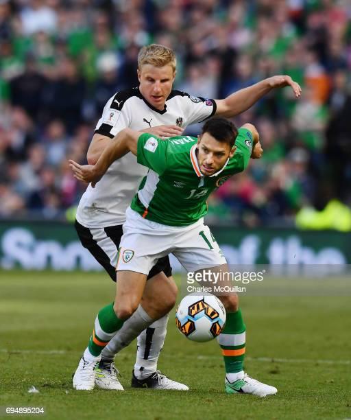 Wes Hoolahan of Republic of Ireland and Martin Hinteregger of Austria during the FIFA 2018 World Cup Qualifier between Republic of Ireland and...
