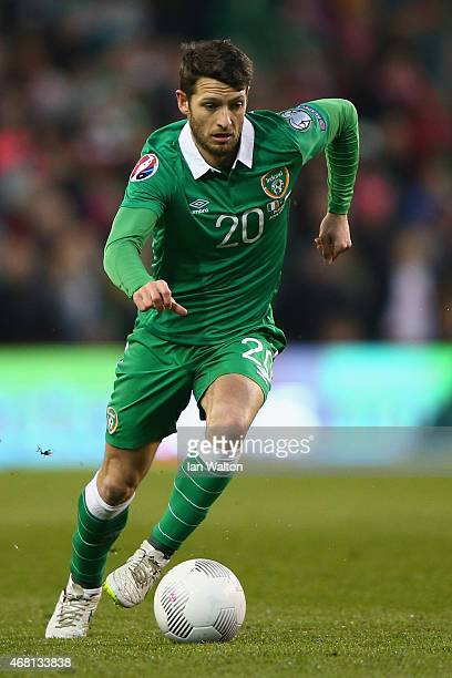 Wes Hoolahan of Republic of Ireland in action during the Euro 2016 qualifying football match between Republic of Ireland and Polandat Aviva Stadium...