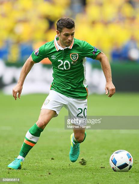 Wes Hoolahan of Republic of Ireland in action during the UEFA EURO 2016 Group E match between Republic of Ireland and Sweden at Stade de France on...