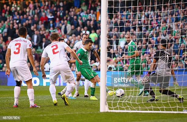 Wes Hoolahan of Republic of Ireland scores their seventh goal during the EURO 2016 Qualifier match between Republic of Ireland and Gibraltar at Aviva...