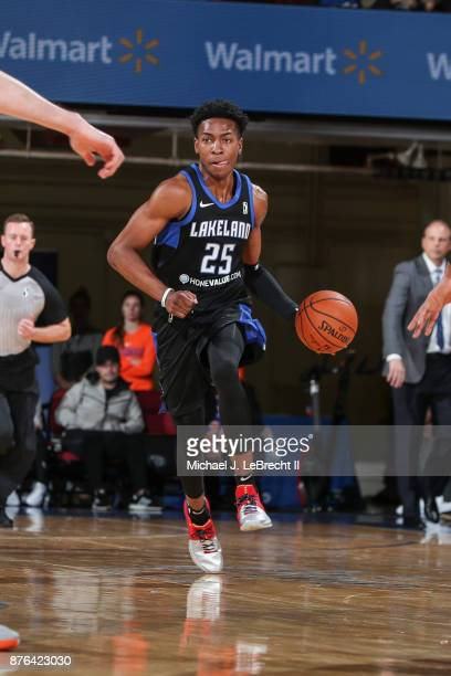 Wes Iwundu of the Lakeland Magic Dripples the ball against the Westchester Knicks during an NBA GLeague game on November 19 2017 at Westchester...