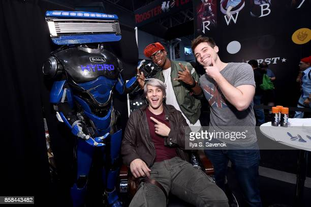 Wes Johnson Amra 'Flitz' Ricketts and Damien Haas of the Smosh Games crew hang out with Schick Hydro At New York ComicCon 2017 on October 6 2017 in...