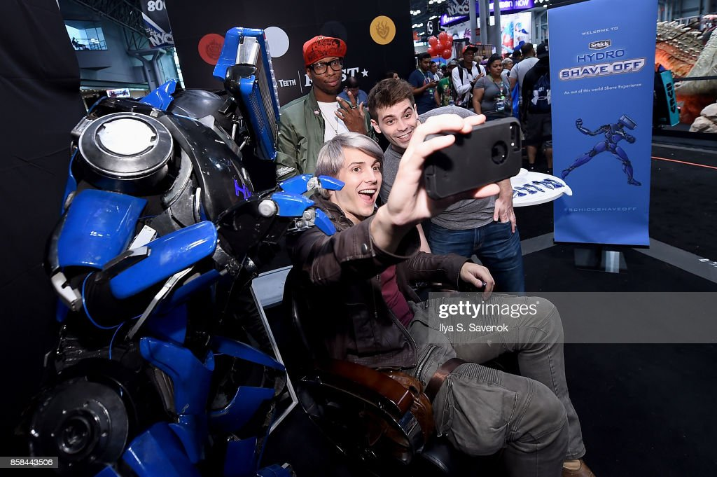 Wes Johnson, Amra 'Flitz' Ricketts, and Damien Haas of the Smosh Games crew hang out with Schick Hydro At New York Comic-Con 2017 on October 6, 2017 in New York City.