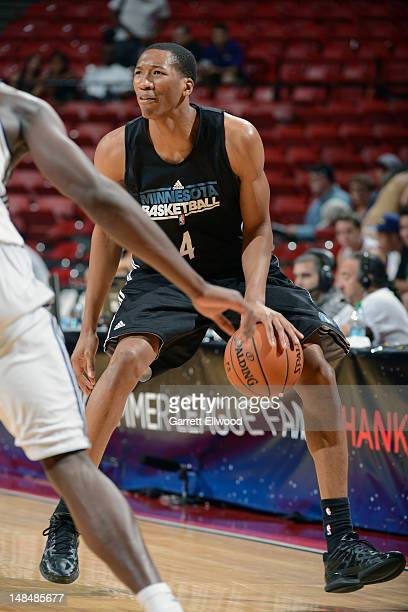 Wes Johnson of the Minnesota Timberwolves drives against the Charlotte Bobcats during NBA Summer League on July 17 2012 at the Thomas Mack Center in...
