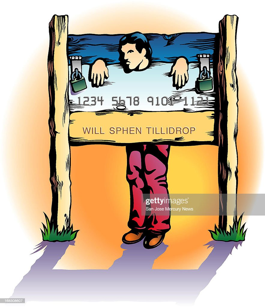 Wes Killingbeck color illustration of man locked in stocks that look like a credit card