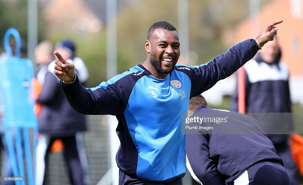 Wes Morgan during the Leicester City training session at Belvoir Drive Training Complex on April 29, 2016 in Leicester, United Kingdom.