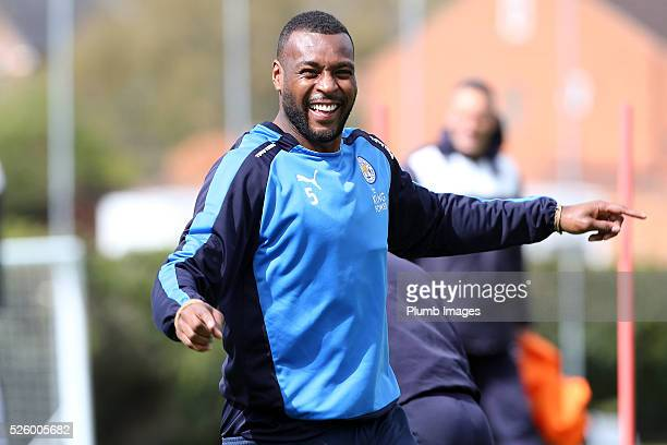 Wes Morgan during the Leicester City training session at Belvoir Drive Training Complex on April 29 2016 in Leicester United Kingdom