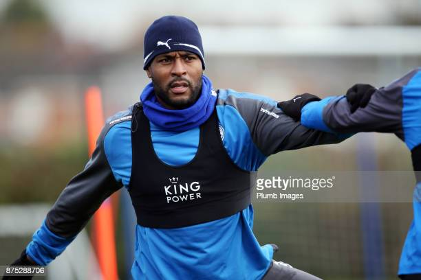 Wes Morgan during the Leicester City training session at Belvoir Drive Training Complex on November 17 2017 in Leicester United Kingdom