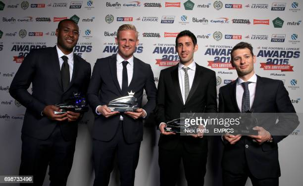 Wes Morgan Kasper Schmeichel Peter Whittingham and Wes Hoolahan with their Team Of the Decade Awards during the Football League Awards 2015 at The...
