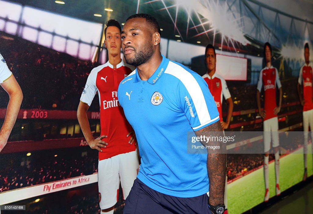 <a gi-track='captionPersonalityLinkClicked' href=/galleries/search?phrase=Wes+Morgan+-+Soccer+Player&family=editorial&specificpeople=13491493 ng-click='$event.stopPropagation()'>Wes Morgan</a> of Leicester City arrives at Emirates Stadium ahead of the Barclays Premier League match between Arsenal and Leicester City at Emirates Stadium on February 14, 2016 in London, United Kingdom.