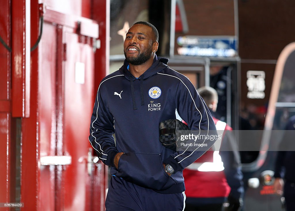 Wes Morgan of Leicester City arrives at Old Trafford ahead of the Premier League match between Manchester United and Leicester City at Old Trafford on May 01, 2016 in Manchester, United Kingdom.