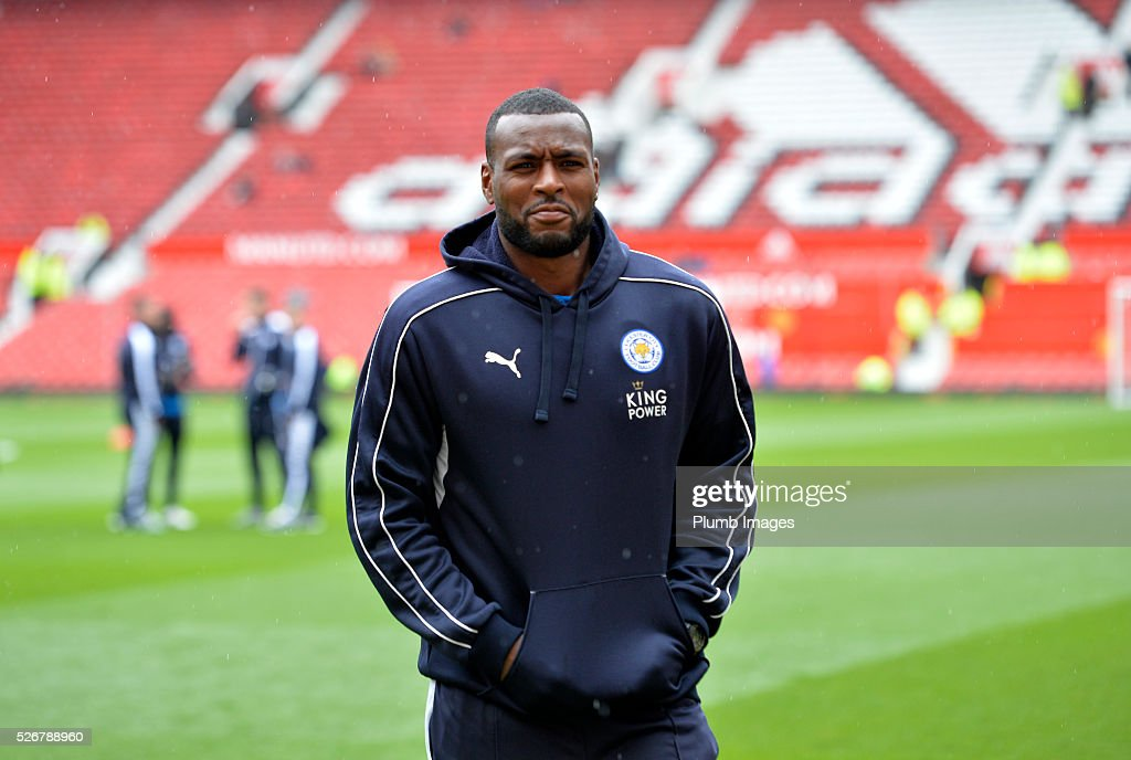 <a gi-track='captionPersonalityLinkClicked' href=/galleries/search?phrase=Wes+Morgan+-+Soccer+Player&family=editorial&specificpeople=13491493 ng-click='$event.stopPropagation()'>Wes Morgan</a> of Leicester City at Old Trafford ahead of the Premier League match between Manchester United and Leicester City at Old Trafford on May 01, 2016 in Manchester, United Kingdom.