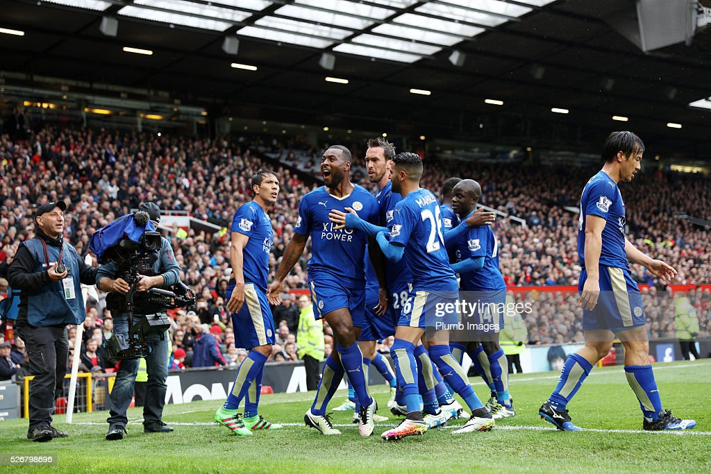 Wes Morgan of Leicester City celebrates after scoring to make 1-1 during the Premier League match between Manchester United and Leicester City at Old Trafford on May 01, 2016 in Manchester, United Kingdom.
