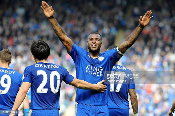 Wes Morgan of Leicester City celebrates after scoring to make it 10 during the Barclays Premier League match between Leicester City and Southampton...
