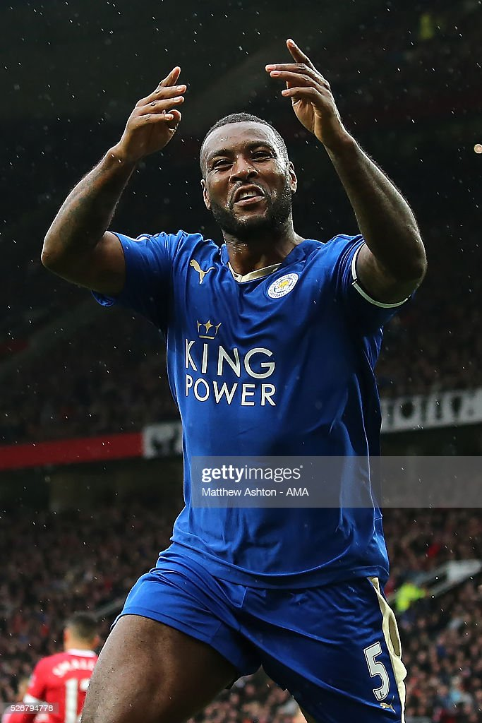 <a gi-track='captionPersonalityLinkClicked' href=/galleries/search?phrase=Wes+Morgan+-+Soccer+Player&family=editorial&specificpeople=13491493 ng-click='$event.stopPropagation()'>Wes Morgan</a> of Leicester City celebrates scoring a goal to make the score 1-1 during the Barclays Premier League match between Manchester United and Leicester City at Old Trafford on May 1, 2016 in Manchester, United Kingdom.