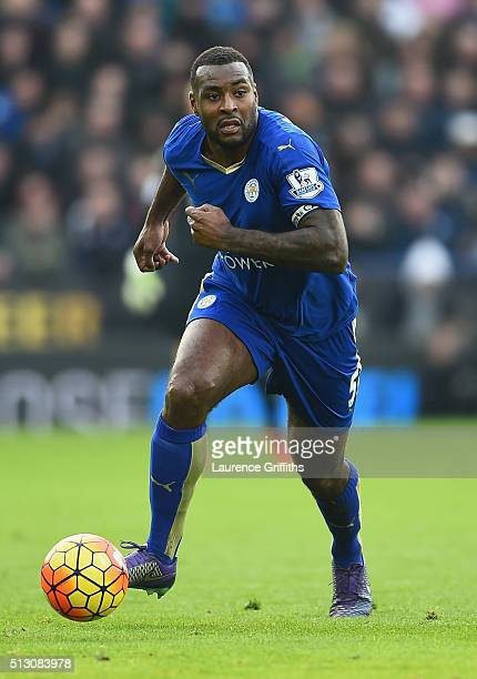 Wes Morgan of Leicester City in action during the Barclays Premier League match between Leicester City and Norwich City at The King Power Stadium on...