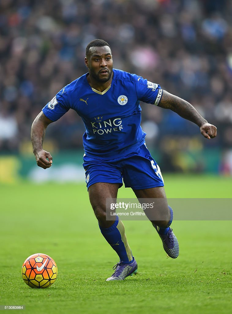 Wes Morgan of Leicester City in action during the Barclays Premier League match between Leicester City and Norwich City at The King Power Stadium on February 27, 2016 in Leicester, England.