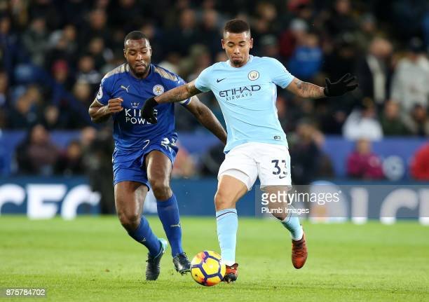 Wes Morgan of Leicester City in action with Gabriel Jesus of Manchester City during the Premier League match between Leicester City and Manchester...