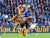 Wes Morgan of Leicester City is crowded by the Hull City defence during the Barclays Premier League match between Leicester City and Hull City at The...
