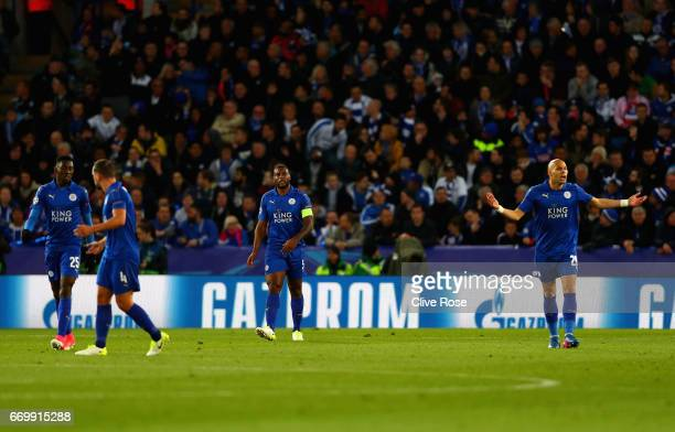 Wes Morgan of Leicester City is dejected after Atletico Madrid score their first goal during the UEFA Champions League Quarter Final second leg match...