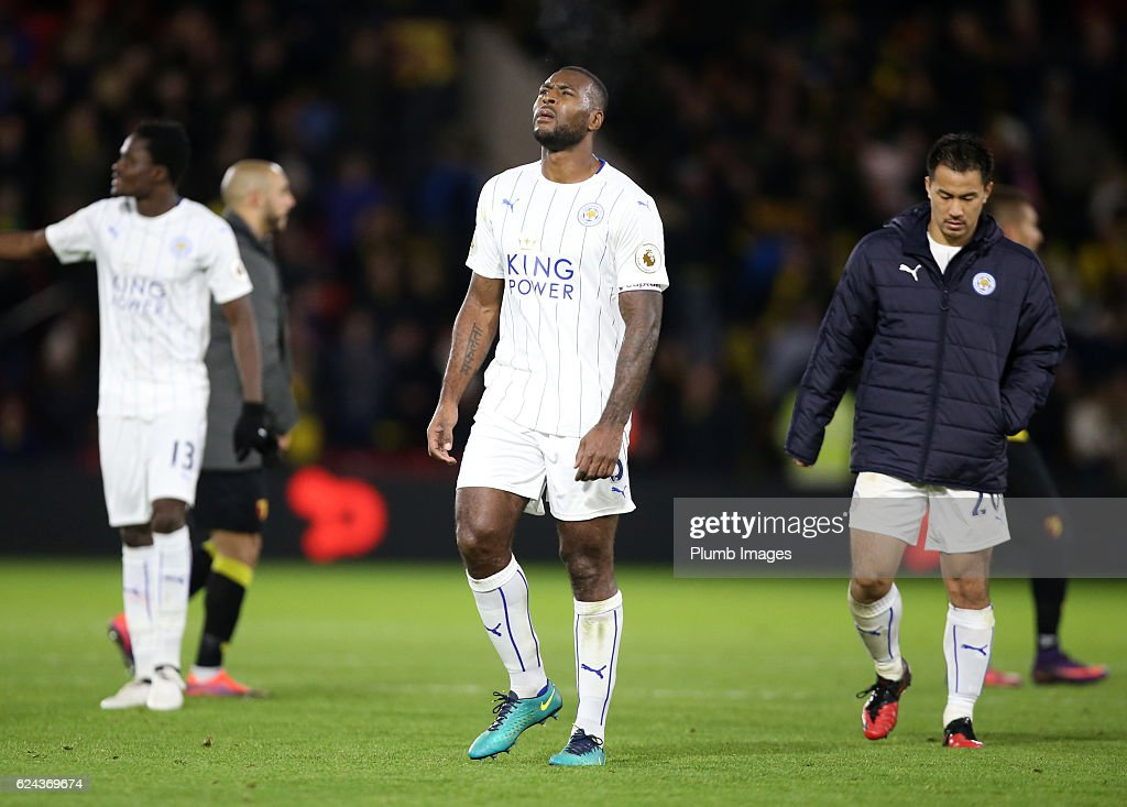 Wes Morgan of Leicester City looks dejected after the Premier League match between Watford and Leicester City at Vicarage Road on November 19, 2016 in Watford, United Kingdom.