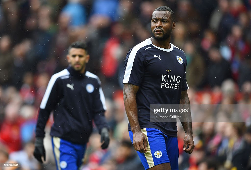 <a gi-track='captionPersonalityLinkClicked' href=/galleries/search?phrase=Wes+Morgan+-+Soccer+Player&family=editorial&specificpeople=13491493 ng-click='$event.stopPropagation()'>Wes Morgan</a> of Leicester City looks on in the warm up prior to the Barclays Premier League match between Manchester United and Leicester City at Old Trafford on May 1, 2016 in Manchester, England.