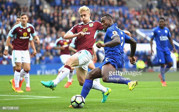 Wes Morgan of Leicester CiWes Morgan of Leicester City takes on Ben Mee of Burnley during the Premier League match between Leicester City and Burnley...