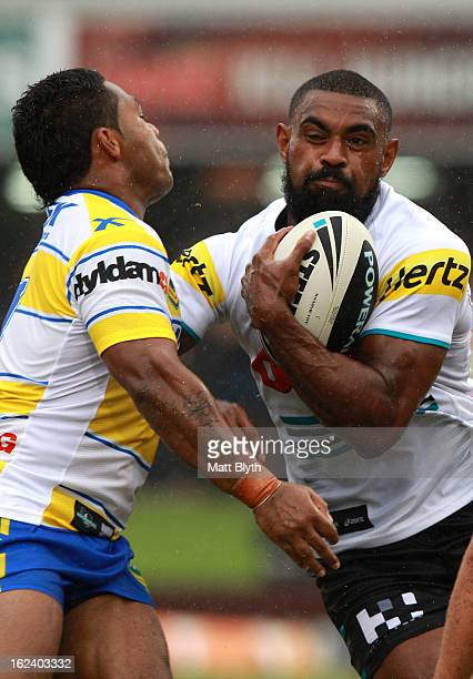Wes Naiqama of the Panthers is tackled during the NRL Trial match between the Penrith Panthers and the Parramatta Eels at Centrebet Stadium on...