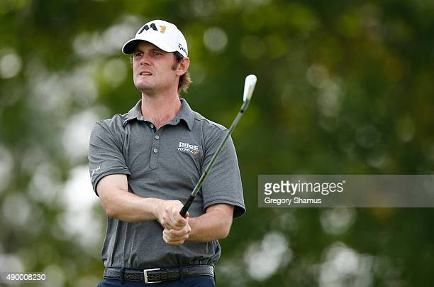 Wes Roach watches his drive on the 13th hole during the second round of the Webcom Tour Nationwide Children's Hospital Championship at The Ohio State...