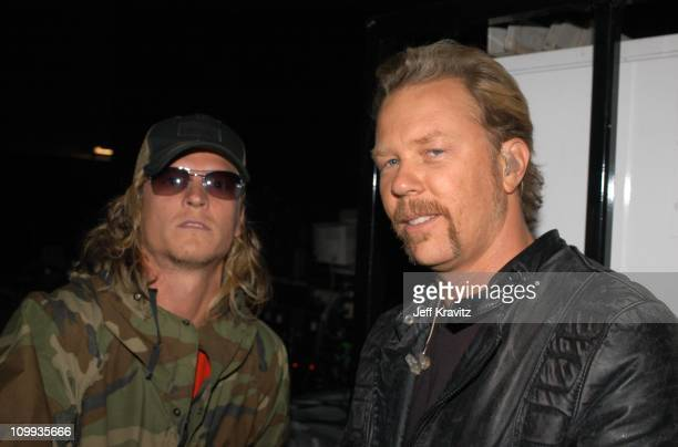 Wes Scantlin of Puddle of Mudd and James Hetfield during MTV Icon Metallica Show at Universal Studios Stage 12 in Universal City CA United States