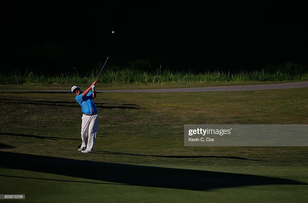 Wes Short Jr plays a shot on the 18th hole of the second playoff hole during the final round of the Mitsubishi Electric Classic at TPC Sugarloaf on...