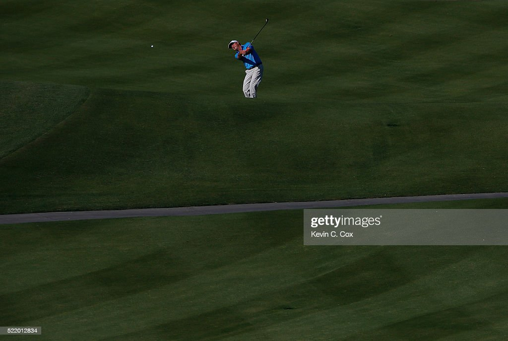 Wes Short Jr plays his second shot on the 18th hole during the final round of the Mitsubishi Electric Classic at TPC Sugarloaf on April 17 2016 in...