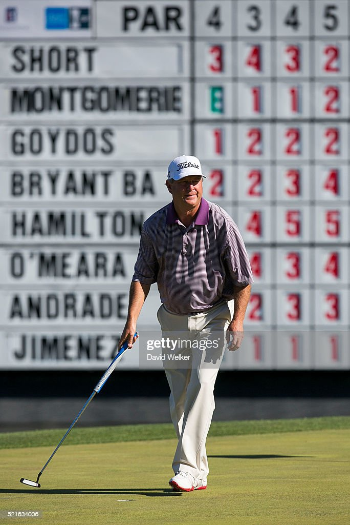 Wes Short Jr reacts after making a bogey on the eighteenth hole during the second round of the Mitsubishi Electric Classic at TPC Sugarloaf on April...