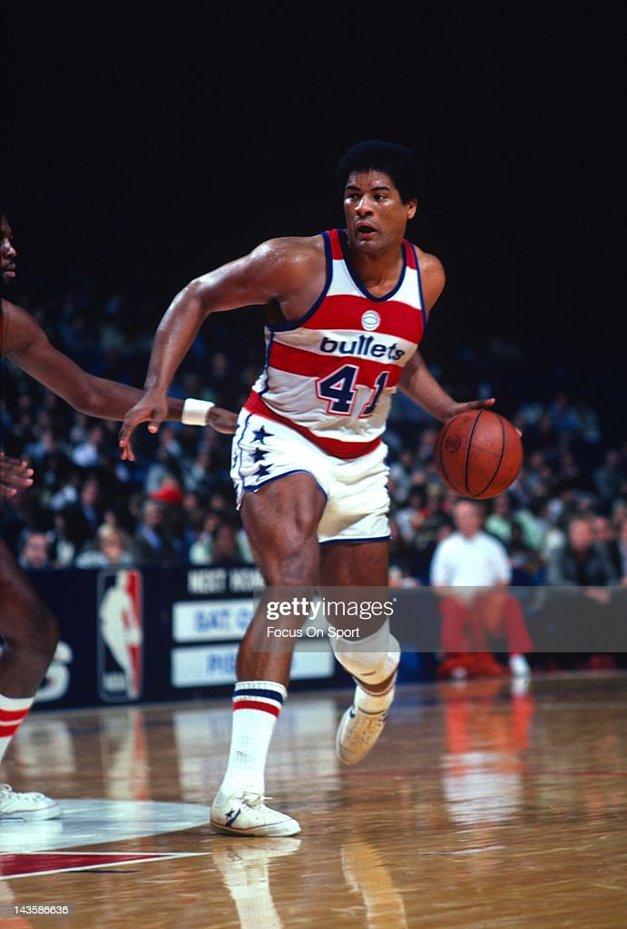 <a gi-track='captionPersonalityLinkClicked' href=/galleries/search?phrase=Wes+Unseld&family=editorial&specificpeople=212864 ng-click='$event.stopPropagation()'>Wes Unseld</a> #41 of the Washington Bullets in action against the Atlanta Hawks during an NBA basketball game circa 1980 at the Capital Centre in Landover, Maryland. Unseld played for the Bullets from 1968-81.