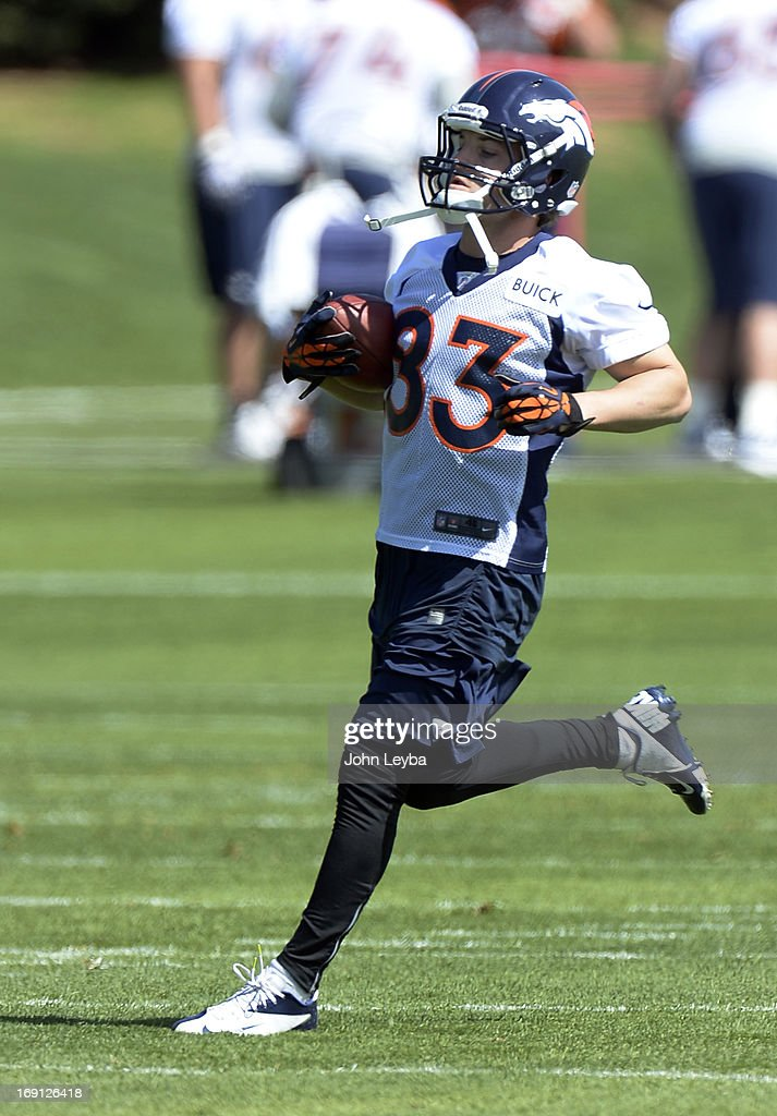 ENGLEWOOD, CO. - Wes Welker of the Denver Broncos runs up filed after catching a pass during the teams OTAs May 20, 2013 at Dove Valley. All offseason training activities (OTAs) are voluntary until the mandatory minicamp June 11-13.