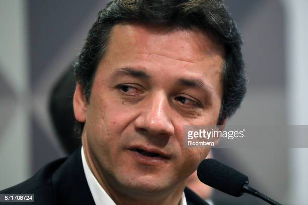 Wesley Batista former chief executive officer of JBS SA speaks during a congressional inquiry hearing at the National Congress building in Brasilia...