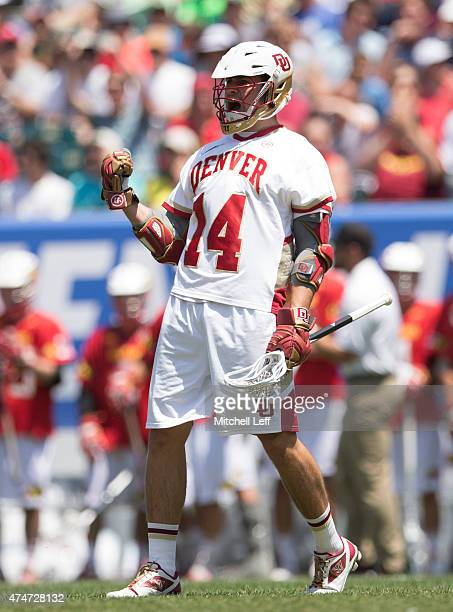 Wesley Berg of the Denver Pioneers reacts after scoring a goal in the first half against the Maryland Terrapins on May 25 2015 in the NCAA Division I...