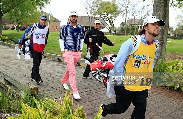 Wesley Bryan and his brother and caddie George Bryan IV cross a bridge during the third round of the Chitimacha Louisiana Open presented by NACHER...
