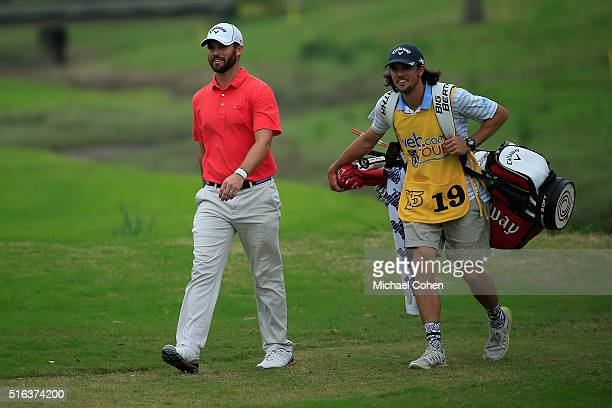 Wesley Bryan and his brother and caddie George Bryan walk the fairway during the second round of the Chitimacha Louisiana Open presented by NACHER...