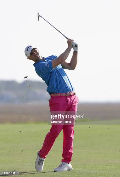 Wesley Bryan hits a shot on the 18th hole during the final round of the 2017 RBC Heritage at Harbour Town Golf Links on April 16 2017 in Hilton Head...