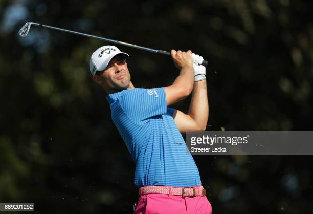 Wesley Bryan hits a tee shot on the 17th hole during the final round of the 2017 RBC Heritage at Harbour Town Golf Links on April 16 2017 in Hilton...