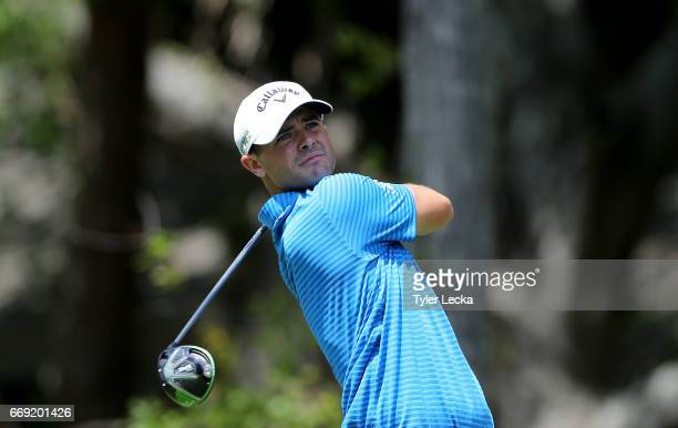 Wesley Bryan hits a tee shot on the 2nd hole during the final round of the 2017 RBC Heritage at Harbour Town Golf Links on April 16 2017 in Hilton...