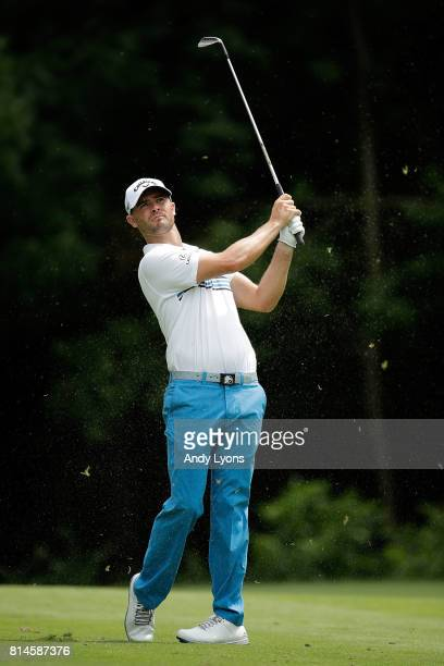 Wesley Bryan hits his approach shot on the sixth hole during the second round of the John Deere Classic at TPC Deere Run on July 14 2017 in Silvis...