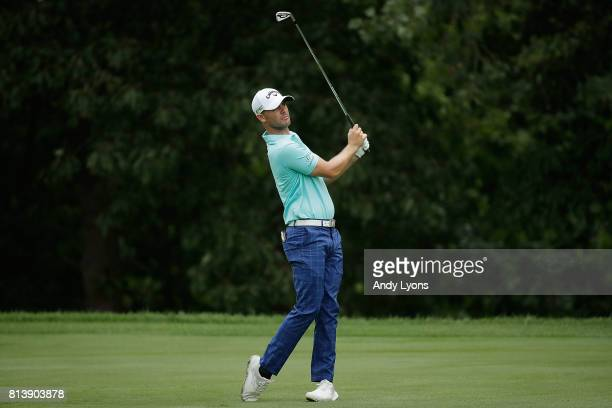 Wesley Bryan hits his second shot on the 15th hole during the first round of the John Deere Classic at TPC Deere Run on July 13 2017 in Silvis...