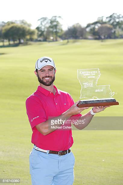 Wesley Bryan holds the trophy after winning the Chitimacha Louisiana Open presented by NACHER held at Le Triomphe Golf and Country Club on March 20...
