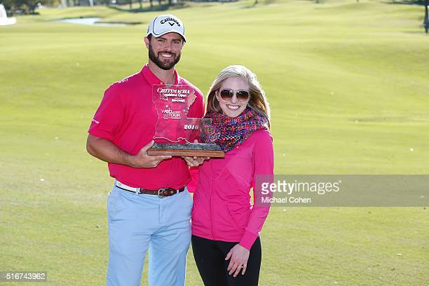 Wesley Bryan holds the trophy as he poses with his wife Elizabeth Bryan after the final round of the Chitimacha Louisiana Open presented by NACHER...